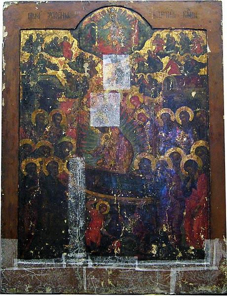 Икона Успения Пресвятой Богородицы с облачными из запасников ВСМЗ