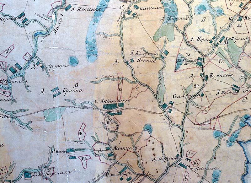 село Андреевское с приходскими деревнями на карте XVIII века