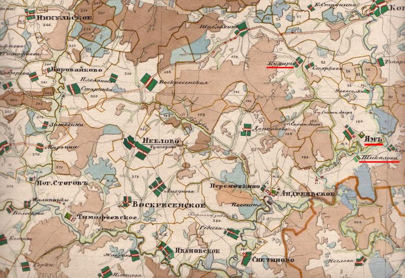Село Ям на карте 1850 года