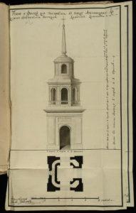 План колокольни Богоявленской церкви 1781 год (РГАДА ф. 1239 оп. 3 д. 31651 л. 81)